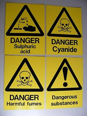 Four Danger / Warning Sign including Cyanide & Harmful Fumes (Lot a)