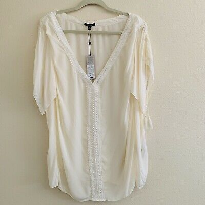 NYDJ womens plus size 3XL top off white lace tassel flutter sleeve blouse nwt
