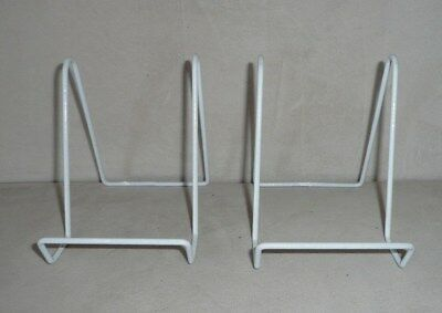 """3/"""" SMALL Plate Stand ANTIQUE WHITE Square Wire Display Easel Tripar 50213"""