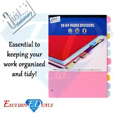 10 A4 Index Folder Dividers - Ready To Use, Ring Binder Files, Universal Punched