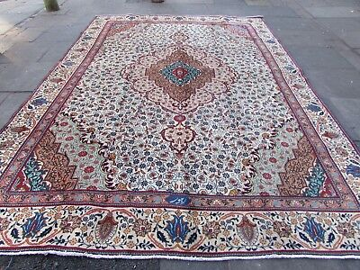 Old Hand Made Traditional Persian Rug Oriental Wool White Large Carpet 375x273cm