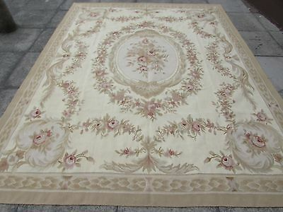 Old Hand Made French Design Wool Beige Gold green Original Aubusson 312X242cm