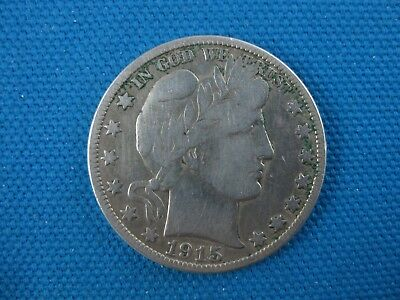 1915 S Silver Barber Half Dollar 50 Cent Coin