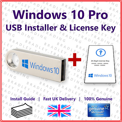 Windows 10 Pro 32/64Bit - USB Installation Drive Boot Stick & License Key Card