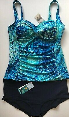 85e1a7bda7 Tankini Set UK 16 M&S BLUE Non Wired Padded Rouched Top Boy Shorts Bottoms  BNWT