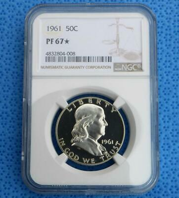 1961 NGC Proof 67 Star Silver Franklin Half Dollar, PF 67 Star Coin, Obv. Cameo