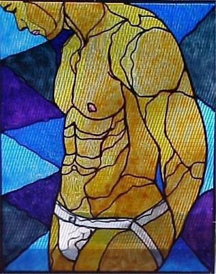 Jockstrap Hand Painted Stained Glass Style Painting Male Nude Gay Interest Frame
