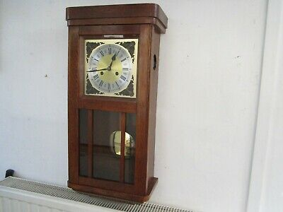 Antique Jungans Light Oak Wall Clock In Very Good Working Order.