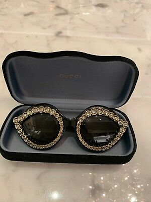 5412f89ca GUCCI CRYSTAL LIPS Stud 3867 0045 Cat Eye Black Gold Crystal Sunglasses  GG3867S