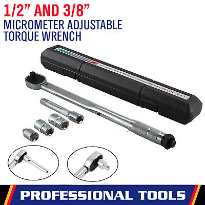 "Torque Wrench 28-210Nm 1/2"" 3/8"" Drive Ratchet Lifetime Guarantee With Extension"