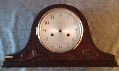Antique Mantle Clock Case + Bezel Nelson Hat Style 31x18x10cm