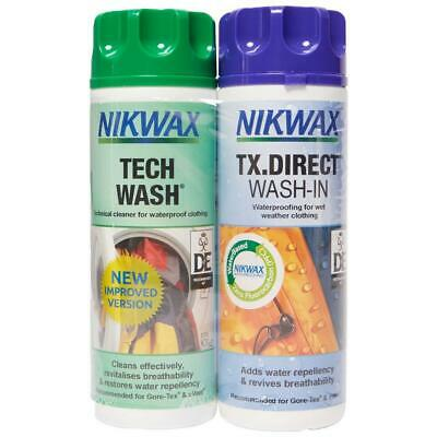 Nikwax Tech Wash and TX Direct Twin Pack for Durable Water Repellency