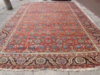 Antique Hand Made Traditional Persian Rug Oriental Wool Red Carpet 395x297cm
