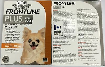 Frontline Plus For Dogs 0 To 22 Lb (0 to 10kg) 6 Pack EXP: 10/2020