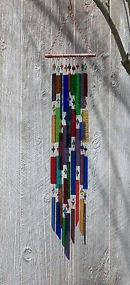 Handcrafted Stained Glass, Copper, Beaded Wind Chime Suncatcher – Awesome Sound!