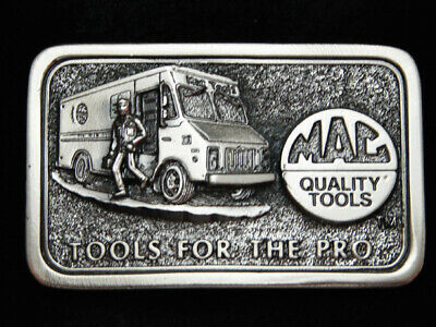 PC11119 *NOS* VINTAGE 1990s **MAC QUALITY TOOLS FOR THE PRO** PEWTER BELT BUCKLE