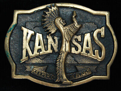 Pk05163 *Nos* Vintage 1977 **Kansas** Statehood Commemorative Solid Brass Buckle