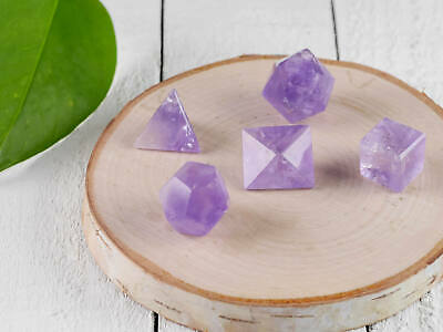 AMETHYST CRYSTAL Platonic Solids - 5 Piece Set Sacred Geometry Crystals E0748