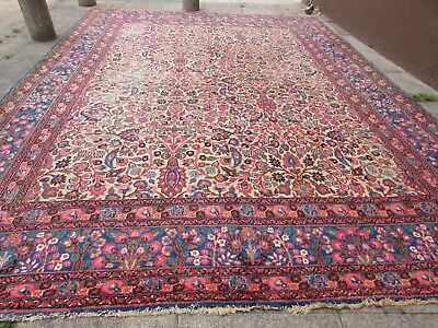 Antique Shabby Chic Hand Made Persian Oriental Wool Pink White Carpet 436x328cm
