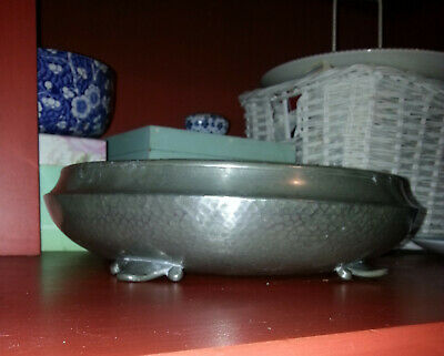 """ART DECO UNITY PEWTER Large Hammered Pewter Bowl 1925-39 Approx 10"""" diameter"""
