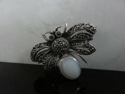 Antique Awesome Moon Stone Sterling Silver 925 Detailed Bee Bug Brooch Pendant