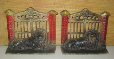 Antique Pair Cast Iron Lion By Fence Gate Bookends #17-Hubley ?