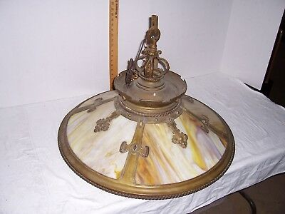 Antique Ceiling Light Fixture Arts & Crafts Art Glass Chandelier Tiffany Quality