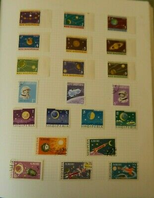 Vintage Space Age Stamp Collection in Folder Almost 600 Stamps International