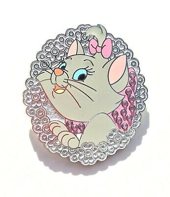 Disney Parks Aristocats Marie Pink Bow, Flowers, and Jeweled Frame Pin