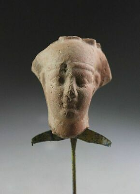*sc*a Fine Egyptian Pottery Portrait Head Of A Pharao, After 600 Bc!!