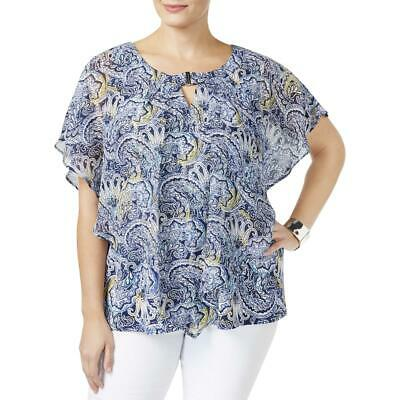 1735e6151f4b3 NY Collection Womens Navy Printed Keyhole Blouse Top Plus 1X BHFO 6688