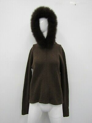 NEIMAN MARCUS WOMEN'S Brown wFox Fur Trim Hoodie Sweater