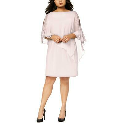 01cb57e0036 Xscape Womens Pink Embellished Popover Party Cocktail Dress Plus 14W BHFO  9509
