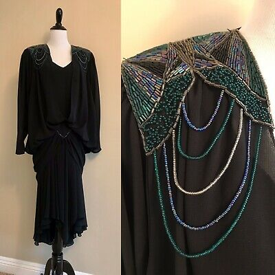 VTG 80s Does 20s Casadei Black Draped Beaded Cocoon Dress Cocktail Art Deco M/L