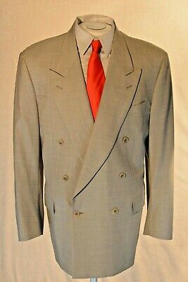 CANALI PROPOSTA Mens 46 R Gray Wool Double Breasted jacket Made In Italy MS50