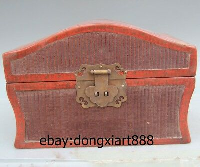 "10"" Chinese Handwork Wood Painted Lucky Dragon phoenix Red Box wooden case Crate"