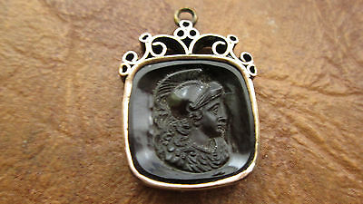 Vintage 8k Yellow Gold Agate Intaglio Fob