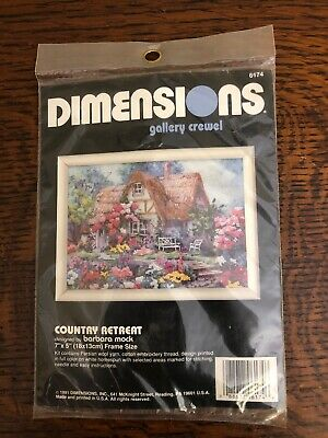 Vtg 1991 Dimensions Gallery Crewel 6174 Country Retreat 7''x 5'' Barbara Mock