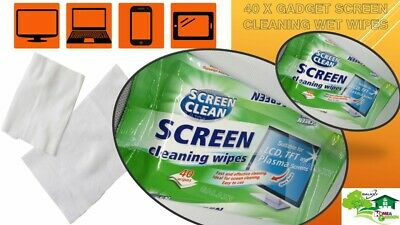 40 x Gadget Screen Cleaning Wet Wipes Laptop LED LCD TV Computer iPad Monitor