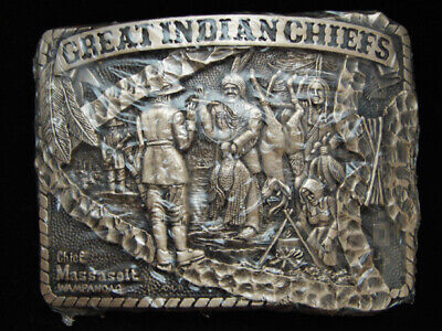 Pg15156 *Nos* Vintage 1983 **Great Indian Chiefs Massasoit** Solid Brass Buckle