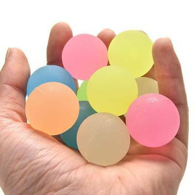 10Pcs Glow In The Dark Bouncing Balls Kids Luminous Toy Party Favor Prizes