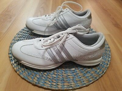 huge selection of 5bb8d 3b007 ADIDAS DRIVER OKAPI WHITE SILVER leather adiwear traxion size 7.5 shoes for  golf