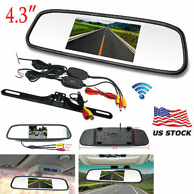 """4.3"""" LCD Monitor Reversing Back Up Camera Kit Wireless Rear View System CAM set"""