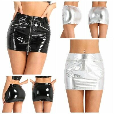 9b7a35a58 Sexy Women's Zipper Metallic Leather Wet Look Bodycon Pencil Shorts Mini  Skirts