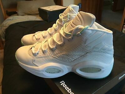 new arrival 6dae2 d1ef7 Mens Size 10 Reebok Question Mid EE White Mint Glow Allen Iverson AI CM9417