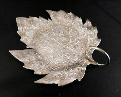 Anglo Indian Solid Silver Kashmir Chinar Leaf Sweetmeat Dish, 1890s.  55 Grams