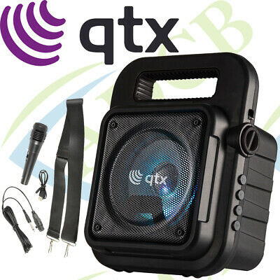 Qtx Effect Portable Bluetooth Party Speaker Sound System Inc Microphone & Strap