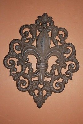 (2) Fancy Fleur De Lis Cast Iron Wall Decor Plaque, F-10
