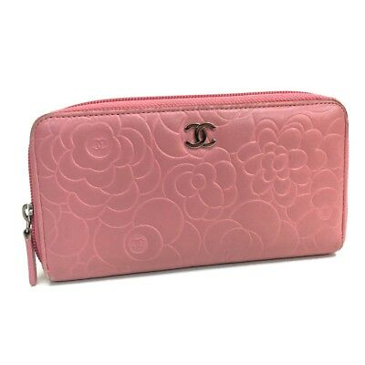 f581a8f6eca382 AUTHENTIC CHANEL CC Camellia Embossed Lambskin Leather Zip Around Wallet  Pink