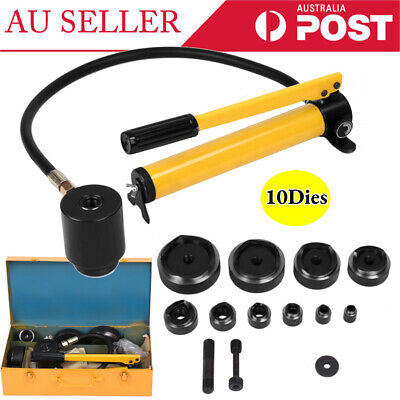 15Ton 10 Dies Hydraulic Metal Hole Punch Knockout Set Industry 16-101mm Tool Kit